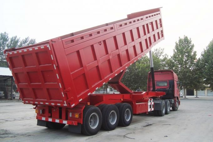 Hydraulic cylinder Heavy Duty Tipper Rear dump truck trailer for Stone , Metal