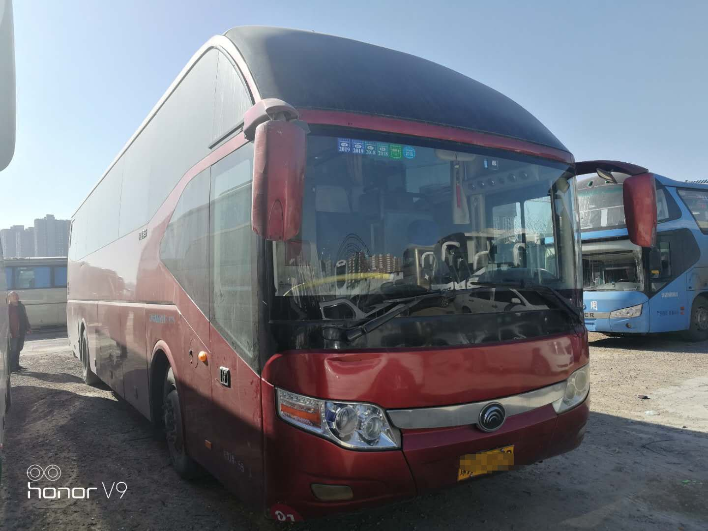 ZK6127H Red Yutong BRAND Used secondhand Buses 51 seats 2013 Year Running good condition with A/C Auto door